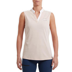 Mouwloze damespolo ruitersport 500 Mesh lichtroze en blauw
