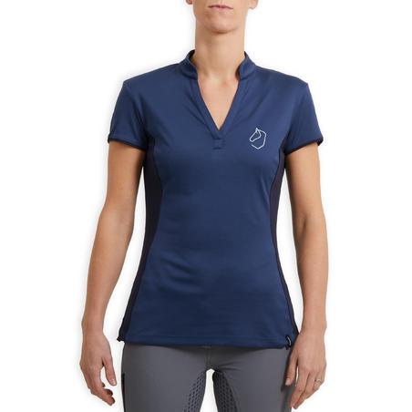 Women's Short-Sleeved Mesh Horse Riding Polo Shirt 500 - Dark Blue/Navy