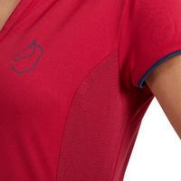 Women's Short-Sleeved Mesh Horse Riding Polo Shirt 500 - Raspberry