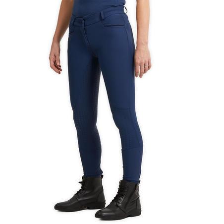 Pantalon équitation femme 580 LIGHT FULLGRIP bleu turquin