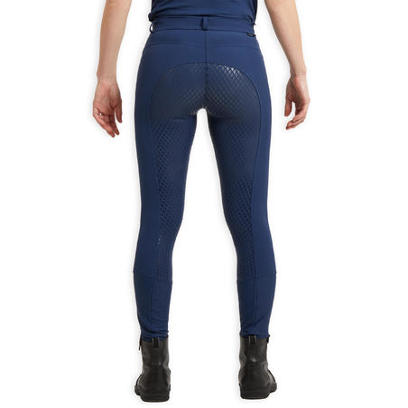 Women's Equestrian Jodhpurs 580 Light Fullgrip - Blue