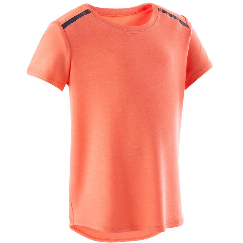 Camiseta Manga Corta Deportiva Gimnasia Domyos 500 Bebé Naranja Transpirable