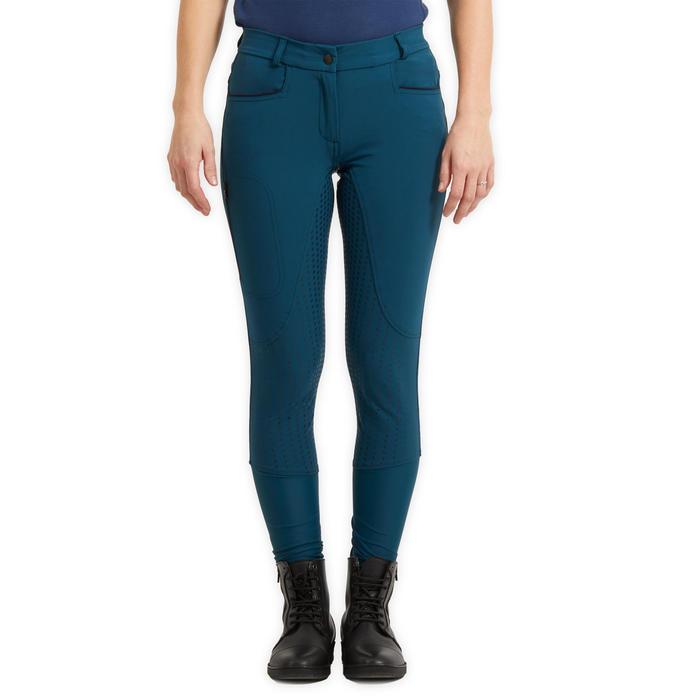 Pantalon équitation femme 580 LIGHT FULLGRIP bleu pétrole