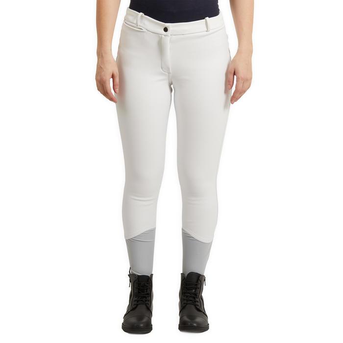 Pantalon concours chaud et déperlant équitation femme KIPWARM blanc