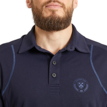 Men's Short-Sleeved Horse Riding Mesh Polo - Navy Blue