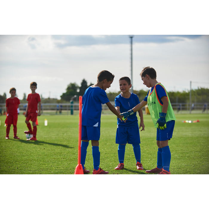 Keeperhandschoenen voor voetbal kinderen F500 blauw/geel