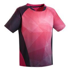 Badmintonshirt voor kinderen 560 marineblauw/roze