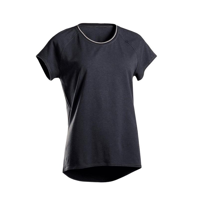 Kaus Katun Organik Yoga Lembut Wanita- Hitam