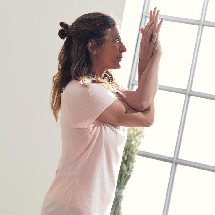 T-shirt voor zachte yoga dames biologisch katoen roze