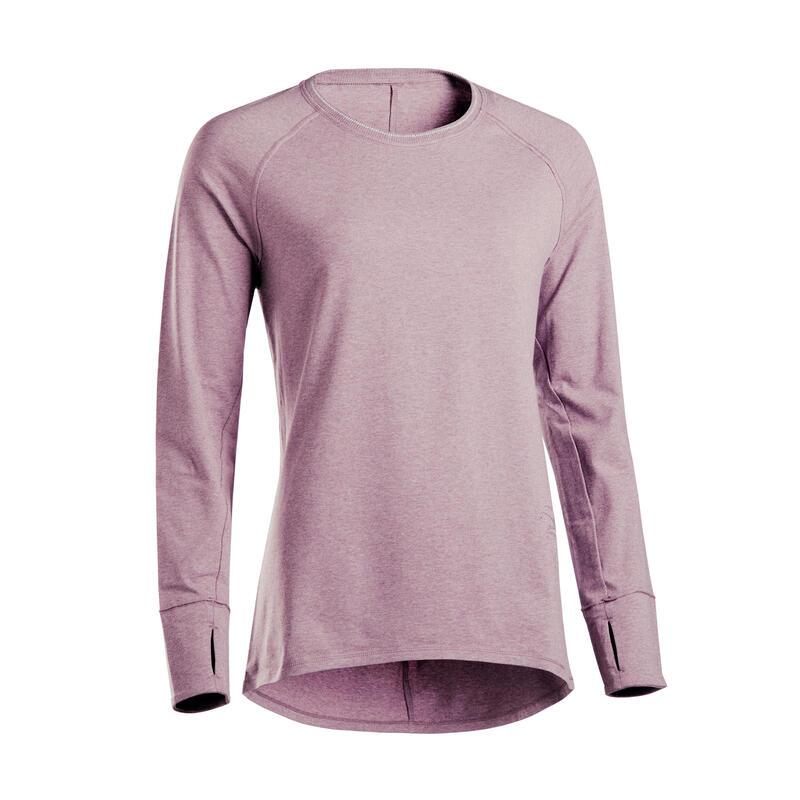 cea mai bună vânzare adidași drăguț ieftin Bluză YOGA ușoară bumbac biologic Mov damă | Domyos by Decathlon