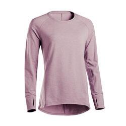 Long-Sleeved Yoga Organic Cotton T-Shirt - Plum