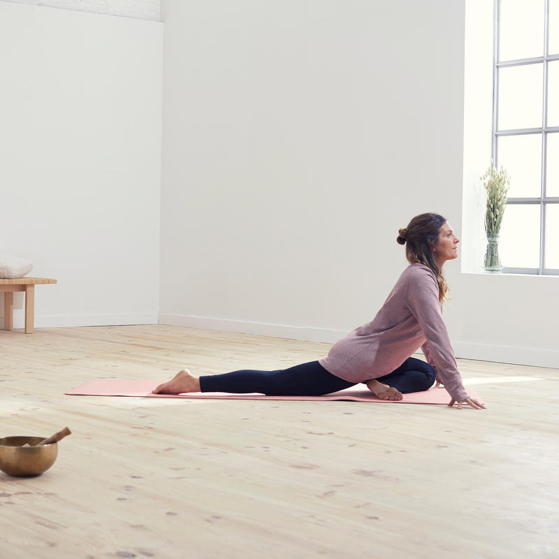 Polera Manga Larga Yoga Mujer de Algodón Gris Ciruela