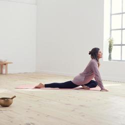 Shirt met lange mouwen voor zachte yoga dames biologisch katoen pruimenpaars