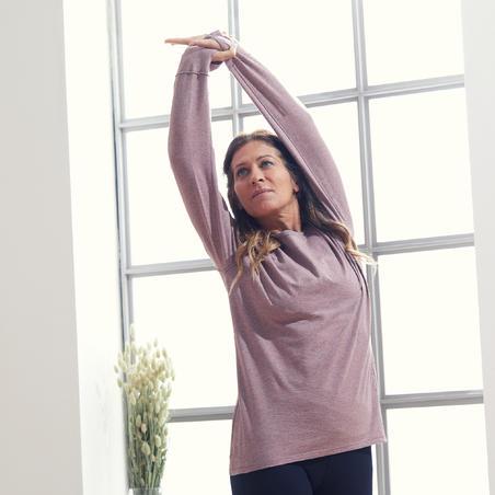Футболка з довгими рукавами для йоги з органічної бавовни сливова