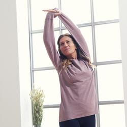 Camiseta Manga Larga Yoga Mujer de Algodón Gris Ciruela