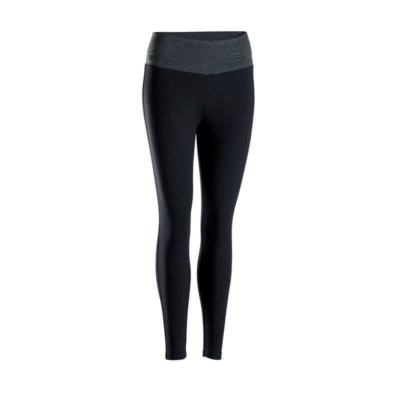 Legging zachte yoga dames ecodesigned zwart / grijs