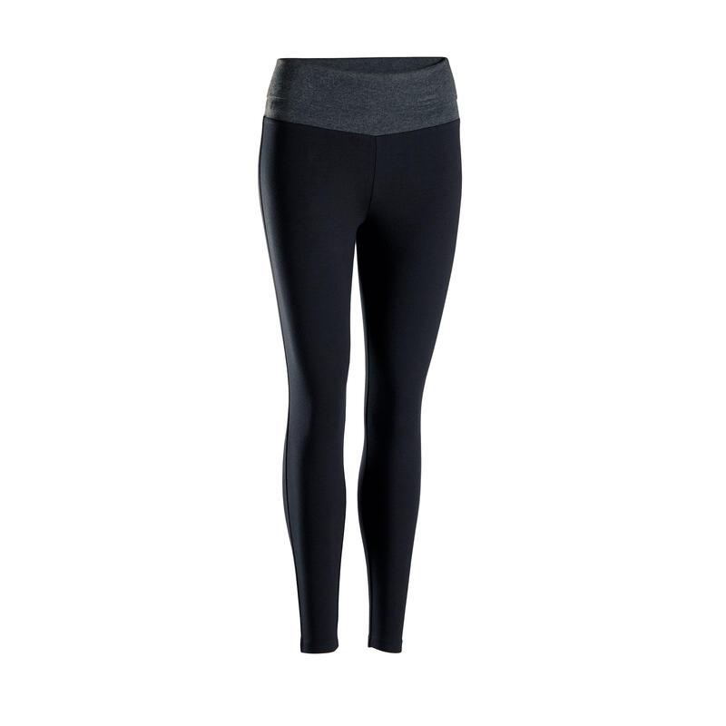 Leggings donna yoga cotone bio nero-grigio