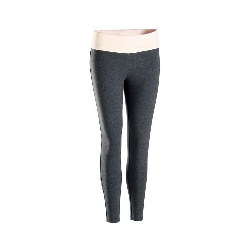 Legging voor zachte yoga dames ecodesigned grijs / roze