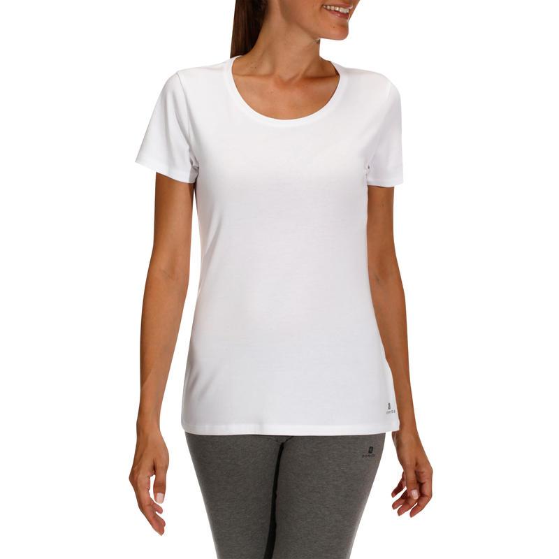 T-Shirt 500 regular Pilates Gym douce femme blanc