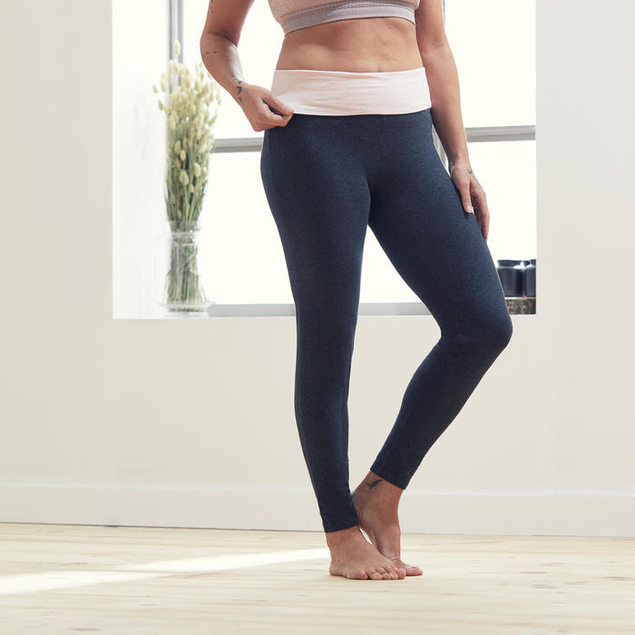 Women's Gentle Yoga Cotton Leggings - Grey/Pink
