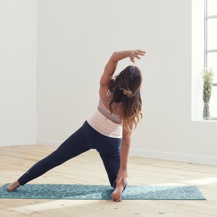 Legging voor zachte yoga dames biologisch katoen grijs/roze