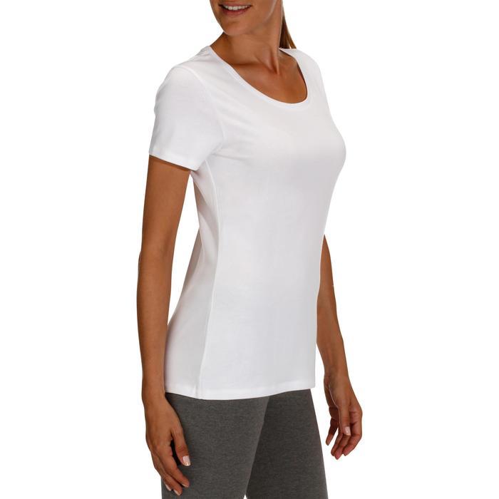 Camiseta 500 regular Pilates y Gimnasia suave mujer blanco