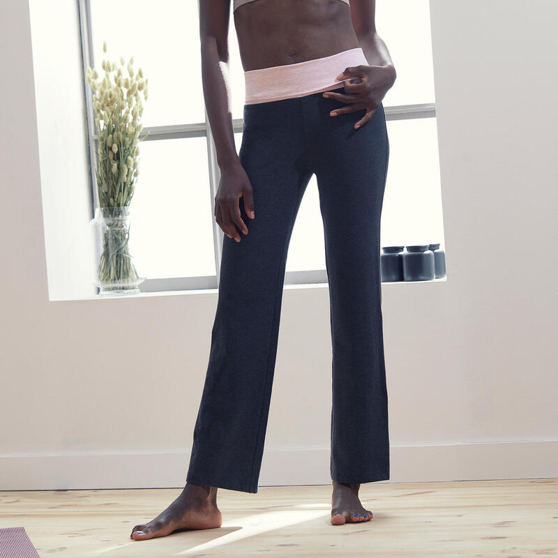 Women's Organic Cotton Gentle Yoga Bottoms - Grey/Pink