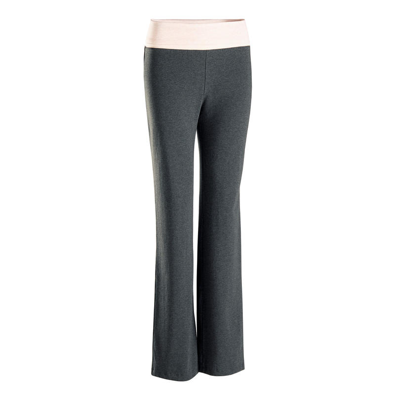 Broek voor zachte yoga dames biologisch katoen grijs/roze