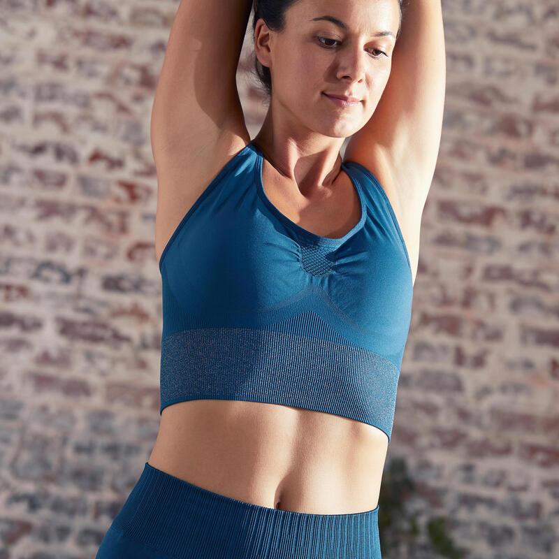 Seamless Long Dynamic Yoga Sports Bra - Dark Turquoise/Silver