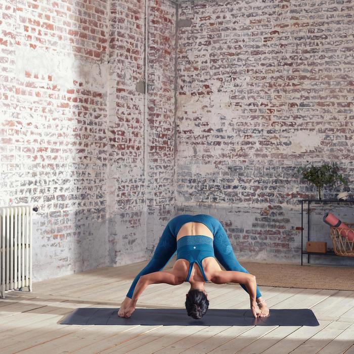 無縫長版動態瑜珈運動內衣 - 深藍綠色/銀色