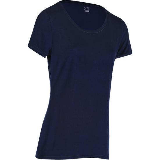 Dames T-shirt met korte mouwen voor gym en pilates, regular fit, gemêleerd - 178657