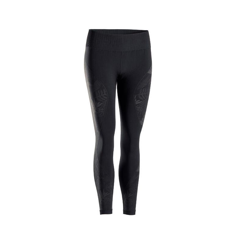 Leggings 7/8 donna yoga seamless nero-grigio