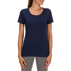Dames T-shirt met korte mouwen voor gym en pilates, regular fit, gemêleerd - 178658
