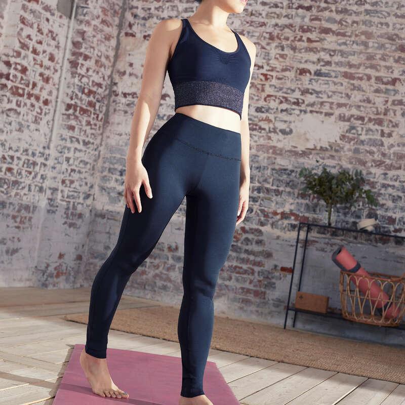 WOMAN YOGA APPAREL Fitness and Gym - Dynamic Yoga Leggings - Black DOMYOS - Gym Activewear