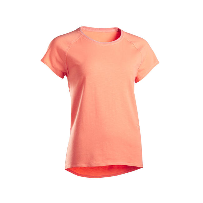Women's Gentle Yoga Organic Cotton T-Shirt - Coral