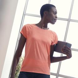 T-shirt voor zachte yoga dames biologisch katoen koraalrood