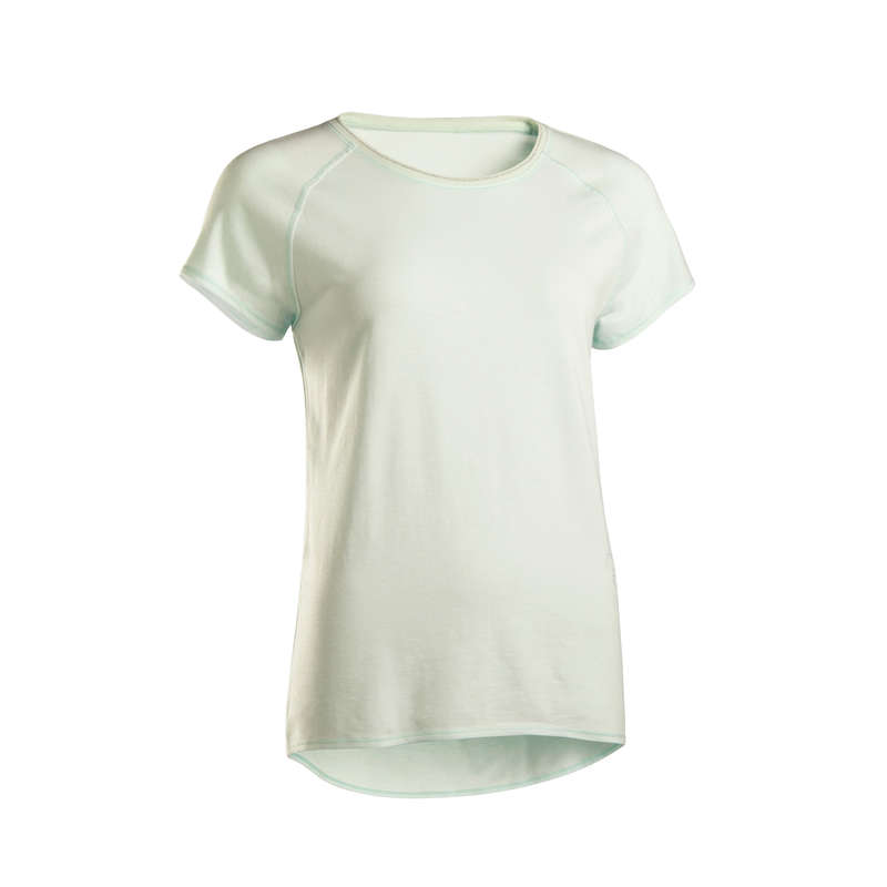 ЙОГА ЖЕН. Летняя одежда и обувь - Футболка жен. зеленая DOMYOS - Летняя одежда и обувь