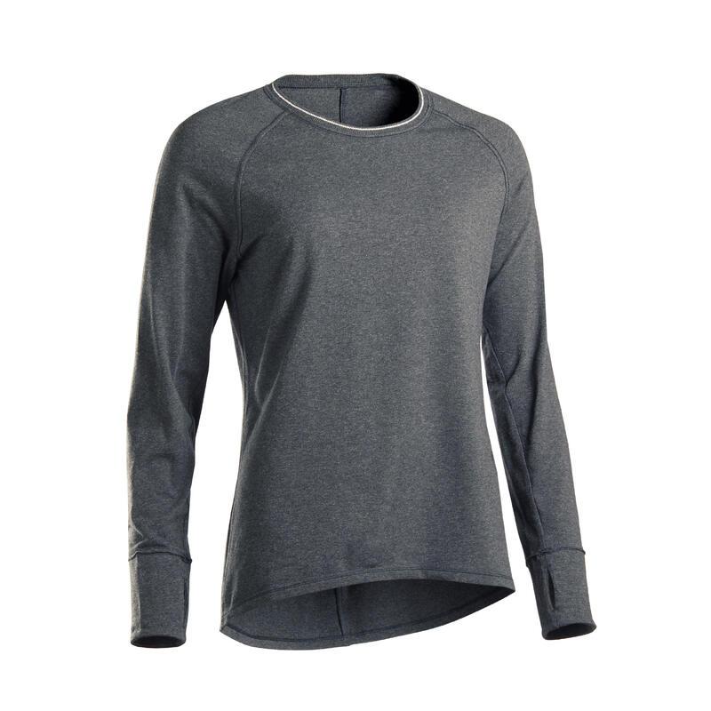 Shirt met lange mouwen voor zachte yoga dames biologisch katoen donkergrijs