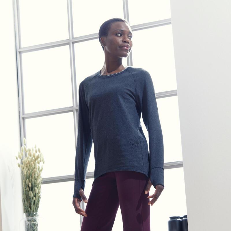 Organic Cotton Long-Sleeved Yoga T-Shirt - Dark Grey