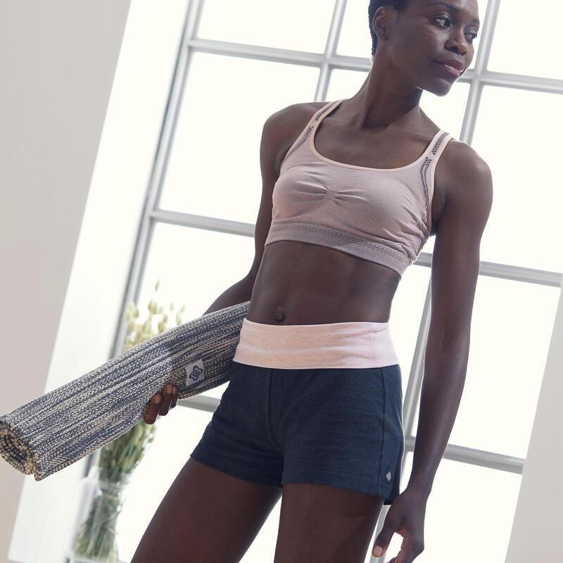 Women's Eco-Designed Gentle Yoga Shorts - Grey/Pink