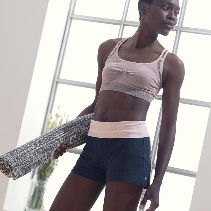 Short voor zachte yoga dames biologisch katoen grijs/roze