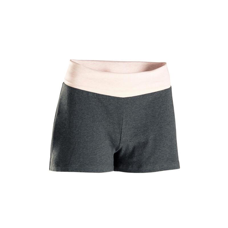 Pantaloncini donna yoga cotone bio grigio-rosa