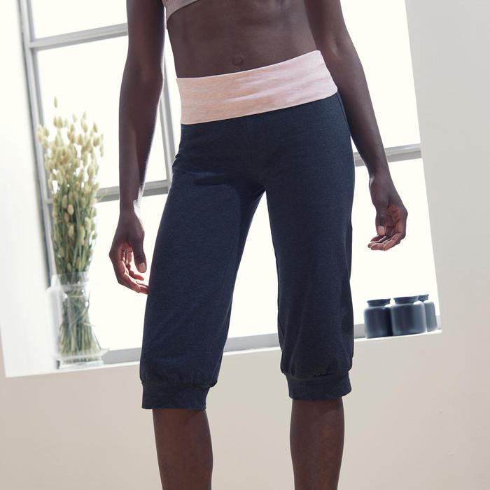 女款舒緩瑜珈有機棉七分褲 - 灰色