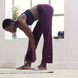 Broek voor zachte yoga dames biologisch katoen bordeaux