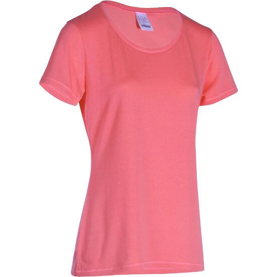 Dames T-shirt met korte mouwen voor gym en pilates, regular fit, gemêleerd - 178670