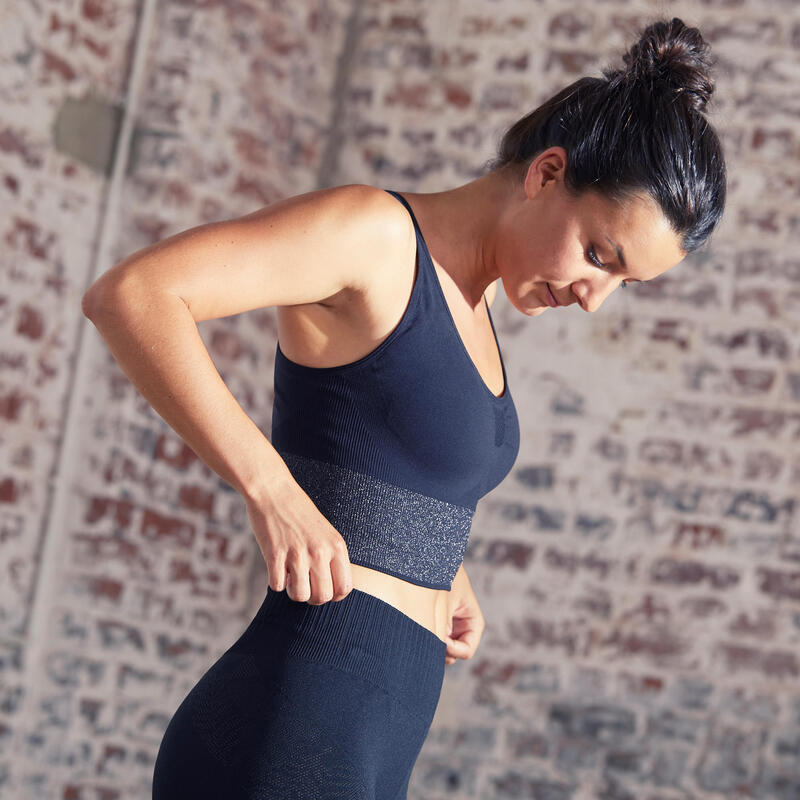 Top Sujetador Deportivo Seamless Mujer Yoga Relleno Extraible Negro