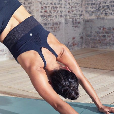 Bra Olahraga Yoga Dinamis Panjang Tanpa Kelim - Hitam/Perak