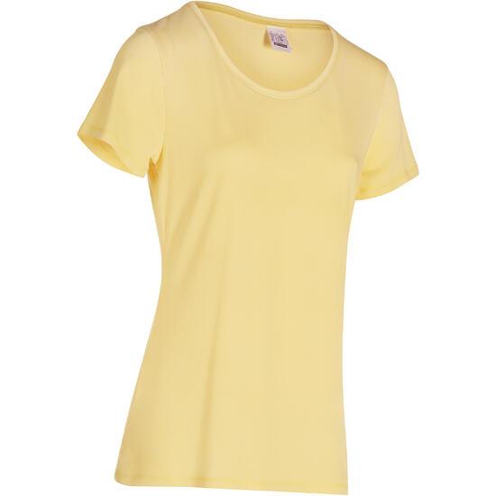 Dames T-shirt met korte mouwen voor gym en pilates, regular fit, gemêleerd - 178675