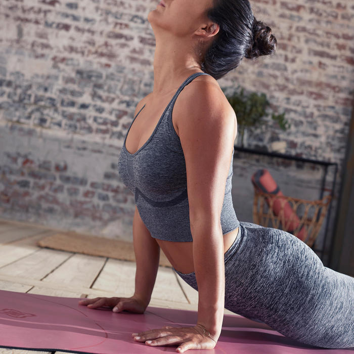 Seamless Long Dynamic Yoga Sports Bra - Mottled Grey