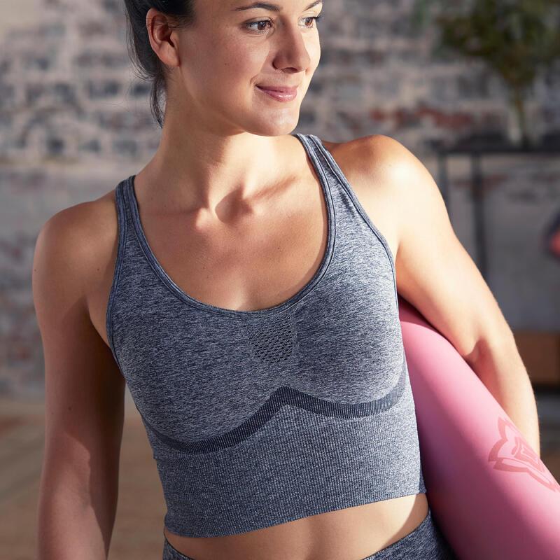 Top Sujetador Deportivo Mujer Yoga Bajo Impacto Gris